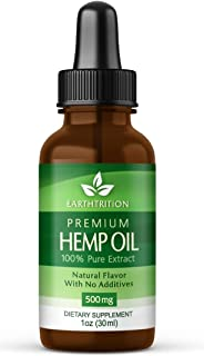 Premium Hemp Oil by Earthtrition - 500mg - 100% Organic Pure Extract, Naturally Reduces Inflammation and Anxiety, Improves Sleep Habits, Improves Circulation, Helps Stress, Reduces Joint Pain