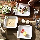 MALACASA, Serie Blance, 60 TLG. CremeWeiß Porzellan Geschirrset Kombiservice Tafelservice mit je 12 Kaffeetassen, 12 Untertassen, 12 Dessertteller, 12 Suppenteller und 12 Flachteller - 5