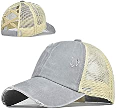 Top Hats for Women Baseball Caps with Mesh Back Trucker Hats Ponytail/High Messy Bun Ponycap Dad Hats