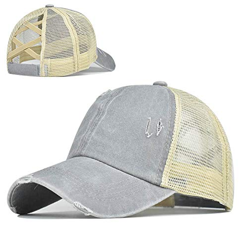 Top Hats for Women Baseball Caps with Mesh Back Trucker Hats Ponytail/High Messy Bun Ponycap Dad Hats (Grey)
