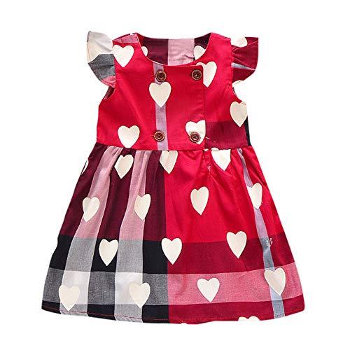 Julhold - Vestido de algodón sin mangas para bebé, diseño de cuadros de dibujos animados tridimensionales, para niños de 1 a 11 años de edad