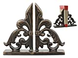 """Ebros Rustic Cast Iron Ornate Fleur De Lis Bookends Set Statue 8.5"""" Tall in Faded Bronze Antique Finish 6.25"""" H French Royal Stylized Lily Decorative Office Study-Room Library Desktop Decor Figurines"""