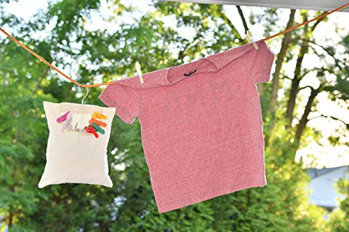 Home-X Canvas Clothspin Bag | Laundry Clothes Pin Holder with Hanging Hook