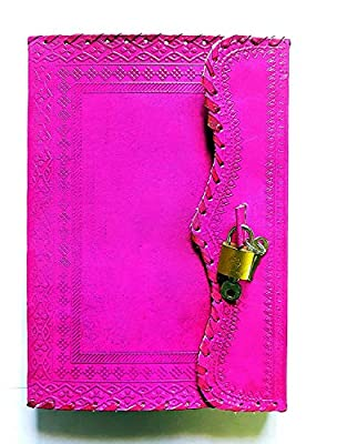 Hot Pink Leather Journal with Small Lock