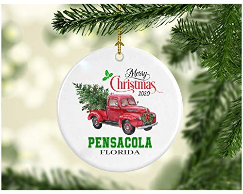 Christmas Decoration Tree Merry Christmas Ornament 2020 Pensacola Florida Funny Gift Xmas Holiday as a Family Pretty Rustic First Christmas in Our New Home Ceramic 3' White