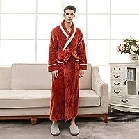 ホームライフカップル冬のローブ女性セット赤い床の長さのフランネル長袖バスローブスーツ暖かい固体厚いローブ女性睡眠XLXXXLオレンジピンクの女の子M