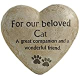 ENNAS Cat Memorial Stones Outdoor for Loss of Cat, Pet Memorial Stones Resin Material Heart Shaped with Cat Paw, Garden Memory Stepping Stone for Our Loved Cat (6.10x5.51x2.40 Inch)