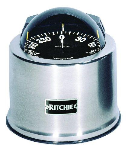 Ritchie Navigation SP-5C - Bussola Globemaster, 12,7 cm, quadrante piatto, supporto binnacle, base in acciaio inox