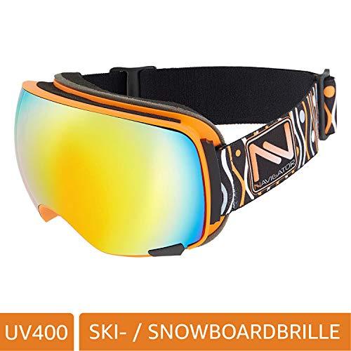 NAVIGATOR Vision Skibrille u. Snowboardbrille, 2 Wechsellinsen, einzigartiger AntiFog Beschichtung, UVA Schutz, Wintersport Brille m. verspiegelten Gläsern u. innovativer Linsenhinterlüftung, ORANGE