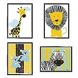 Gkdki laminas decorativas pared, Infantiles Niño Animales Pósteres , 4 paneles para habitación de niños dibujos animados inspirador lienzo impresión arte decoración carteles