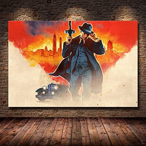 DIY Pintar por números Popular juego de acción de gángsters Mafia Painting pintura digital por números kits sobre lienzo Con pincel y pintura acrílica pintura para adultos por50x70cm(Sin marco)