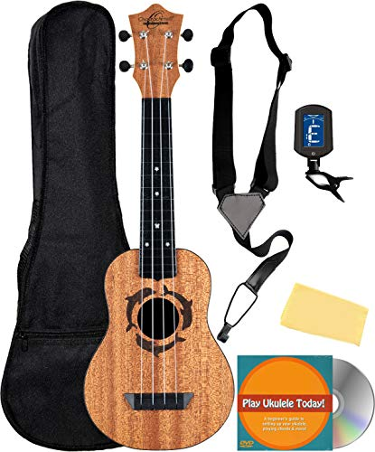 Oscar Schmidt OUN Soprano Ukulele - Dolphin Bundle with Gig Bag, Strap, Tuner, Strings, Online Lessons, Austin Bazaar Instructional DVD, and Polishing Cloth