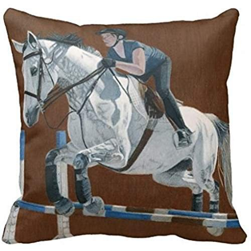 nostalgiaz Beautiful Hunter Jumper Brown Horse Pillow Cover, 18 x 18 inches