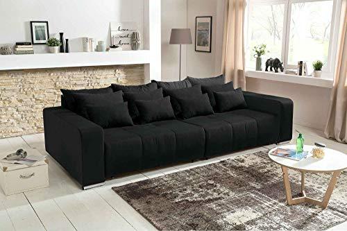 lifestyle4living Big Sofa in schwarz mit Schlaffunktion | XXL Couch inkl. 4 extragroßen Rücken-Kissen und hochwertiger Schaum-Polsterung