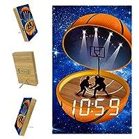 ベッドルーム用デジタル目覚まし時計キッチンオフィス3アラーム設定ラジオウッドデスククロック-スポーツ抽象バスケットボールスタジアム