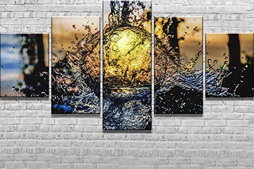 HNBDH kunstdruk op canvas, waterbal, 5-delig, fotobehang, canvas, wand, kunst, decoratie voor thuis, HD, kunstdruk, foto, kunstdruk Pas de Cadre (Taille B)