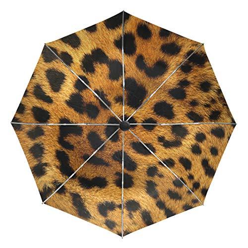 FAJRO- Paraguas de Viaje con patrón de Piel de Leopardo, Resistente al Viento, Paraguas automático para Lluvia al Aire Libre, para Mujeres/Hombres, Unisex Adulto, FJ-421, 9, Talla única