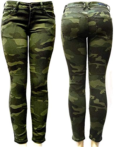 Jack David / Rue21 Juniors Womens Plus Size Stretch Army Camo Camouflage Skinny Denim Jeans Pants (3, RUE21 Camouflage RUE1892MC)