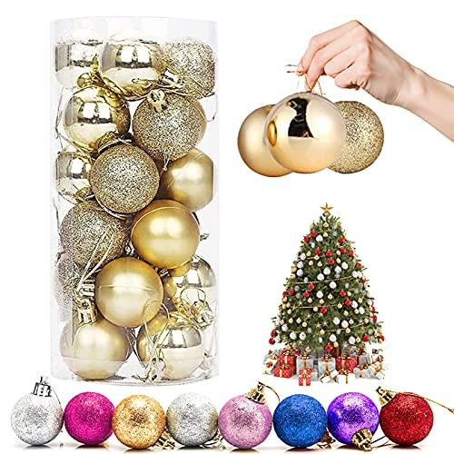 Palla di Natale Ornamenti, 24 Pezzi palline decorative di Natale palline colorate di Natale Plastica Addobbi Natalizi per Alberi Pendenti per Ornamenti Decorazioni per Feste (oro)