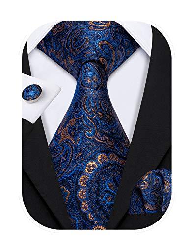 Barry.Wang Designer - Juego de corbata, pañuelo cuadrado para bolsillo y gemelos, para hombre, seda, diseño de Paisley Azul Azul 5155 Talla única