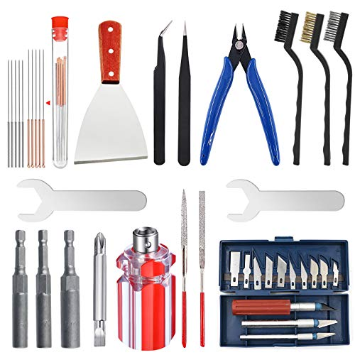 HAWKUNG 26 PCS Kit di Strumenti per Stampante 3D, Strumento per Cambio Ugello 3 in 1, Aghi, Pinze, Pinzette, Raschietto, Coltelli per il Cambiamento Degli Ugelli e del Modello di Rimuovere, Pulire