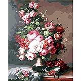 ZXDA DIY Pintura por números Flor Pintura al óleo Pintado a Mano Lienzo Dibujo decoración del hogar Kit de Regalo Pintura DIY Lienzo A7 50x65cm