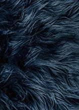 Navy Blue Mongolian Long Pile Faux Fur Apparel Crafting Fabric - BTY - 60