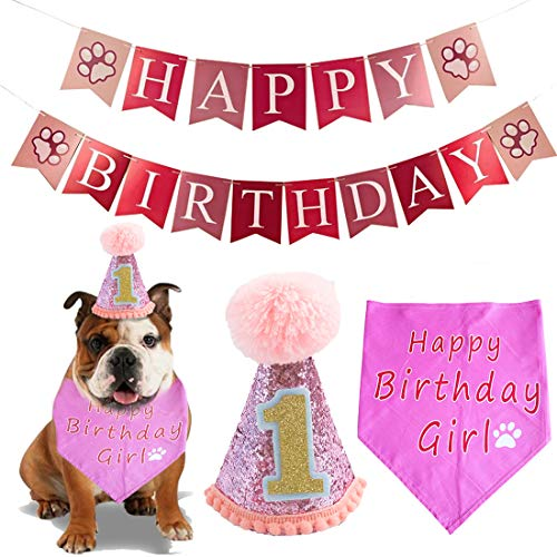 BIPY Hundekostüm zum 1. Geburtstag, Hut und Halstuch, Set für kleine und mittelgroße Hunde und Katzen