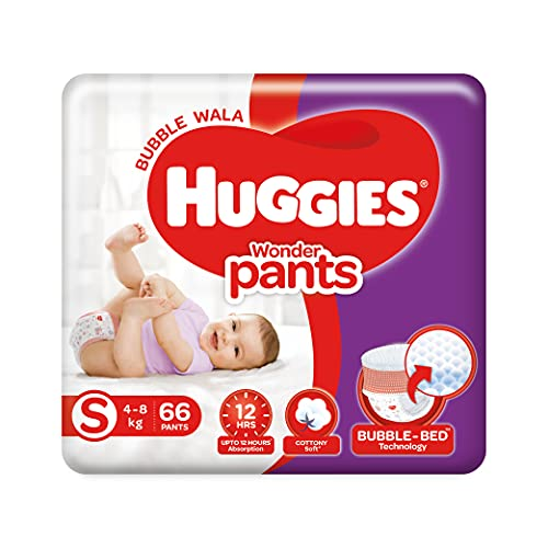 Huggies Wonder Pants Small (S) Size Baby Diaper Pants, 66 Count, with Bubble Bed Technology for Comfort