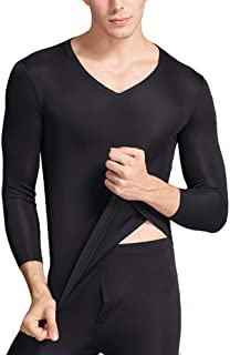 LingDooo Mens Pure Silk Winter Knit Underwear Winter Thermal Long Johns Set V Neck Silk Shirt +Pants