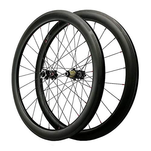 ZCXBHD 700C Scheibenbremse Cyclocross Rennrad Laufradsatz Kohlefaser Öffnen Fetter Rand Rad 7 8 9 10 11 12 Fach Durch Achse (Color : Black, Size : 50MM)