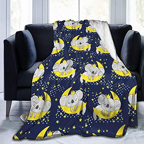Manta de Felpa Suave Cama Koala Lindo durmiendo en la Luna Manta Gruesa y Esponjosa Microfibra, Suave, Caliente, Transpirable para Hogar Sofá , Oficina, Viaje