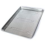 Commercial Quality Half Sheet Baking Pan and Stainless Steel Cooling Wire Rack Set - Aluminum Tray 18