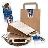 5 kleine braune Papiertüte Weihnachtstüte 18 x 8 x 22 cm + 5 BLAU rot weiße HEILIGER NIKOLAUS Aufkleber Geschenktüte Weihnachten Geschenktasche Verpackung give-away Geschenke Santa