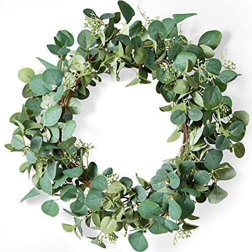 LIFEFAIR Green Eucalyptus Leaf Wreath, 20 Inches Artificial Spring Summer Wreath for Front Door Year Round