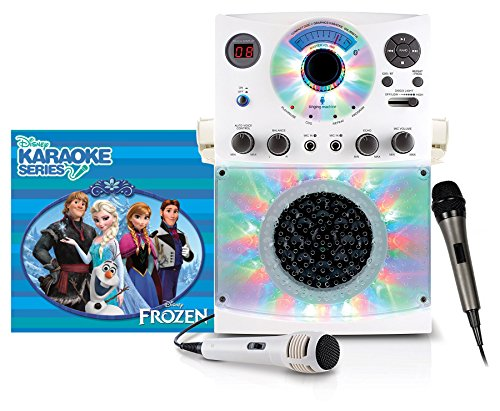 Singing Machine Karaoke System with Bluetooth, Sound and Disco Light Show (White) and Dynamic Microphone with 10 Ft. Cord with Frozen