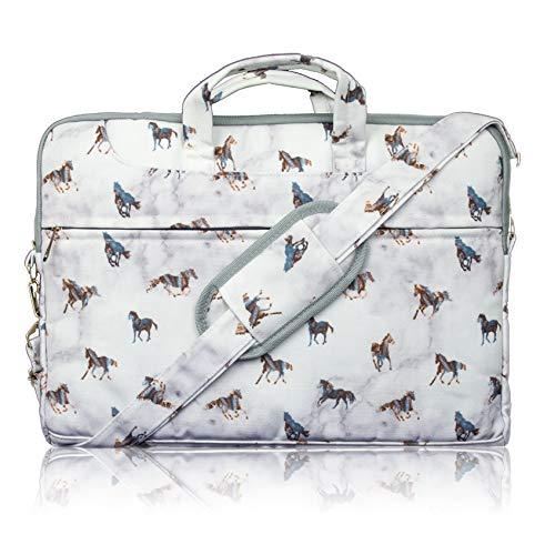 TaylorHe Funda para portátil (15' / 40cm) bolso de bandolera para 15'-15,6' portátiles Laptop con bolsillos laterales para accesorios, caballos, gris