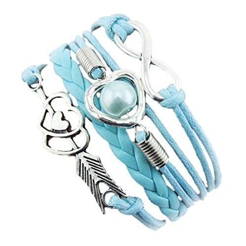 VJGOAL Damen Armband, Unendlichkeit Liebe Herz Perle Freundschaft Antik Leder Charm Armband Frau...