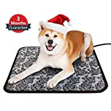 Pet Heating Pad Dog Bed Mats Cat Bed Heated Pad Waterproof Anti Chew Cord With Variable Heat Control and UK Plug Low Voltage Electrically Heated Pet Pad for New Born Pups and Kittens or Bunny(45x45cm)