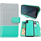 iPhone X Case,iPhone Xs Case Wallet with Magnetic Detachable Case,9 Card Slots,Wrist Strap, CASEOWL 2 in 1 Folio Flip Premium PU Leather Wallet Case for iPhone X/XS/10/10s 5.8 inch (White&Mint Green)