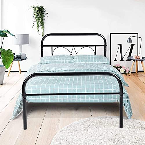 Aingoo single bed frame Headboard 3ft Single Metal Bed Frame Solid Bedstead Base for Children Kids Adults Black Fits for 90 * 190 cm Mattress Black