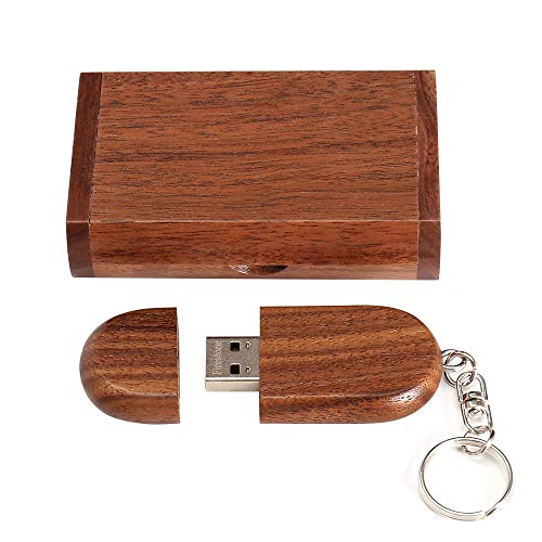 Novelty Wooden USB 2.0 Flash Drive Data Storage Memory Stick USB Stick Pendrive with Wooden Box (16GB, Ellipse Brown)