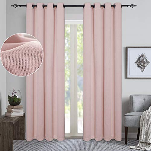 """GRALI 95-inch Thermal Insulated Chambray Curtains, Tweed Textured Soft Heavy Window Drapes, Light Filtering Nursery Draperies (2 Pcs, 52"""" Wide, Blush Pink)"""