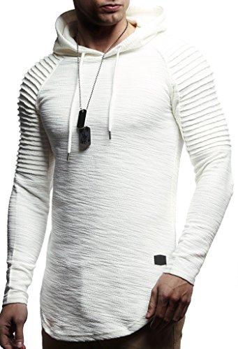 Leif Nelson Herren Kapuzenpullover Slim Fit Baumwolle-Anteil Moderner weißer Herren Hoodie-Sweatshirt-Pulli Langarm Herren schwarzer Pullover-Shirt mit Kapuze LN8128 Ecru Medium