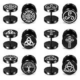 PiercingJak - Lote de 6 pares de pendientes falsos dilatadores de acero inoxidable, redondos, diseño de cruz celta, árbol de la vida, para hombre y mujer