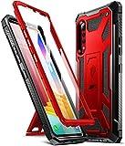 Poetic Spartan Series Coque pour LG Velvet 5G (non compatible avec Verizon & T-Mobile), robuste Premium résistant aux chocs avec béquille/protection d'écran intégrée, rouge métallique