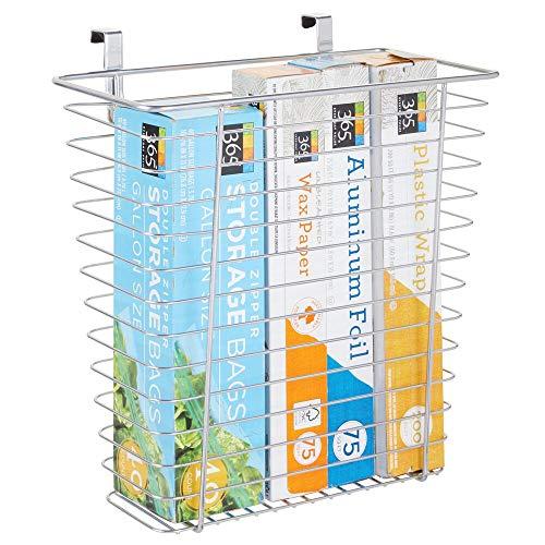 mDesign Cesta metálica para almacenaje – Prácticos organizadores de cocina para papel de aluminio, bolsas de plástico y otros accesorios – Cubo de basura para puertas de armarios – plateado