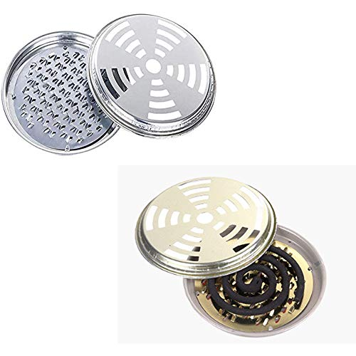 DAZAIGE 2 Pack Mosquito Coil Holder Stainless Steel Insect Repellent Rack with Cover Portable Incense Tray for Home Patio Garden Outdoor Travel Camping Summer Anti-Mosquito Supplies, Random Colors