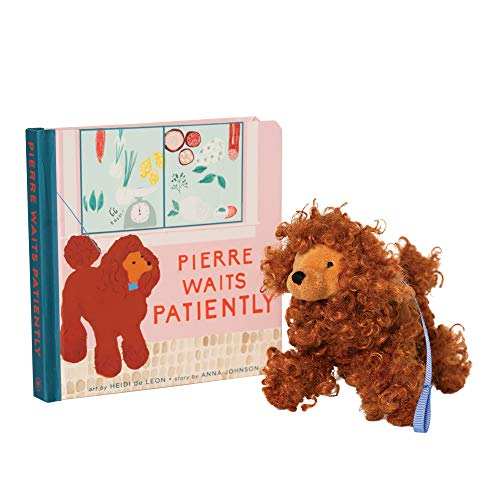 Manhattan Toy Pierre Waits Patiently Baby and Toddler Board Book + Poodle Stuffed Animal Dog Gift Set