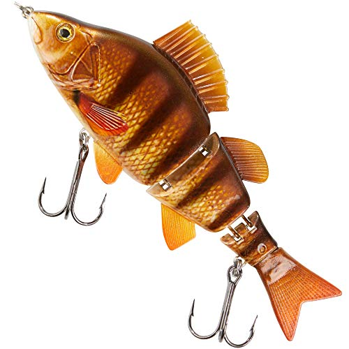 Balzer Shirasu Swimbait Pike Factory 15cm - Wobbler zum Spinnfischen auf Hechte, Hechtköder zum Spinnangeln, Hechtwobbler, Farbe:Barsch / 51g / fast sinking